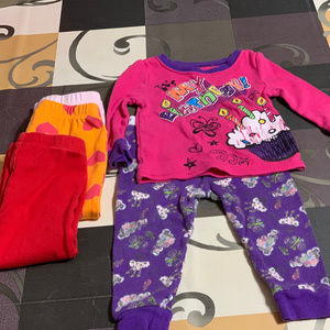 MIXED LOT 12 MONTHS  GIRLS PANTS & PJ'S